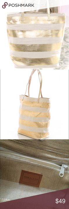 """Shiraleah """"Zanzibar"""" Gold & Ecru Striped Tote Bag Super cute tote with leather handles. Got a ton of compliments on this bag. Colors are closest to third picture - the stock photos make it look more metallic than it is. (I think I got this at Anthro and they definitely carried another bag in this line, but might have bought at Nordstrom) Anthropologie Bags Totes"""
