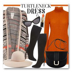 """""""Turtleneck Dress"""" by brendariley-1 ❤ liked on Polyvore featuring Kitx, Hinge, A.P.C., VC Signature, STELLA McCARTNEY, Bobbi Brown Cosmetics, cardigan, turtleneck, astec and sweaterdress"""