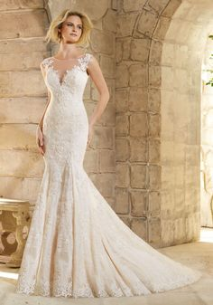 Wedding Dresses and Bridal Gowns by Morilee designed by Madeline Gardner. Chantilly Lace Dress Decorated with Venice Lace Appliques and Scalloped Hemline.
