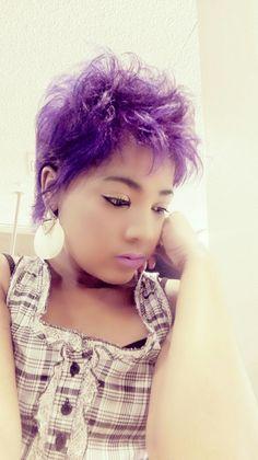 purple lips  purple hair
