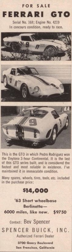 Advertisement for GTO 4219 from December 1963 Road & Track
