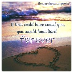 If love could have save you, you would have lived forever. www.facebook.com/thecarsonproject