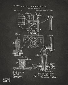 Bottling Machine Drawing - 1890 Bottling Machine Patent Artwork Gray by Nikki Marie Smith