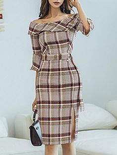 Open Shoulder Plaid Bodycon Dress # Buy Affordable And Fashionable Women's clothing Online. Buy Shoes, Bags, Dresses Etc Cute Dresses, Casual Dresses, Short Dresses, Fashion Dresses, Dresses For Work, Formal Dresses, Elegant Dresses, Sexy Dresses, Fashion Hair