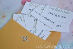 Go Outside! Cards ~ Creative Family Fun ~ a free, printable boredom buster to add a surprise element to your outdoor play. What do your kids love to do outside?