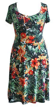 Aloha - Jurk met Hawaii print. Zwarte jurk met groene bladeren en fel gekleurde bloemen. De zomerse met vierkante hals, kort mouwtje en klokkende rok.