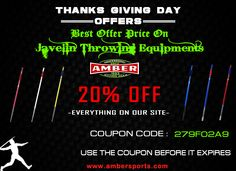 Exciting 20% OFF for javelin throwing equipment at ambersports.com. Grab this opportunity and shop large selection of sporting goods at discounted price.