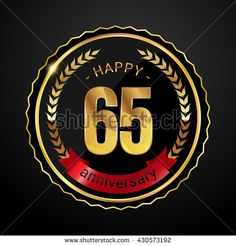 65 golden anniversary logo with red ribbon, low poly design number - stock vector
