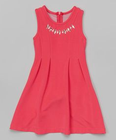 Loving this Pink Rhinestone Necklace Dress - Toddler & Girls on #zulily! #zulilyfinds