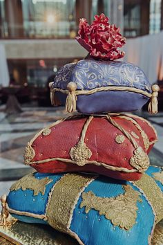 Pillow cake at a colorful Indian and American fusion wedding Amazing Wedding Cakes, Amazing Cakes, Cupcakes, Cupcake Cakes, Aladdin Wedding, Indian American Weddings, Pillow Cakes, Cakes Plus, Sweet 16 Birthday