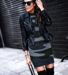 "1,021 Gostos, 38 Comentários - Lucy Hernandez-Style Blogger (@lucyswhims) no Instagram: ""Giving an edgy twist to sweater dresses with camo and my favorite faux leather zippered moto!…"""
