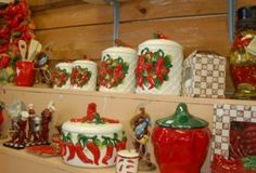 southwestern designs for home decorating | Here's a closeup of their lovely chili pepper cannisters, in one of ...