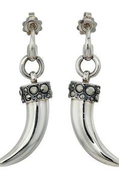 Pomellato 67 O.B223MA/A1 Tusk Dente Earrings (Silver/Marcasite) Earring - Pomellato 67, O.B223MA/A1 Tusk Dente Earrings, O.B223MA/A1, Jewelry Earring General, Earring, Earring, Jewelry, Gift, - Street Fashion And Style Ideas