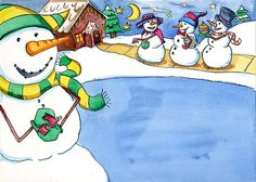 A snowman party - Illustration by Katie Roth Wools