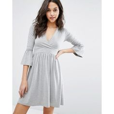 Boohoo Wrap Over Skater Dress With Fluted Cuffs ($20) ❤ liked on Polyvore featuring dresses, cuff dress, wrap style dress, wrap skater dress, wrap dress and skater dresses