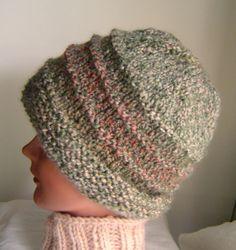 Hand knit beanie hat muted green rust grey mens womens ski cap watch cap by AccessoriesByKelli, $28.00