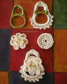 Watch The Video Splendid Crochet a Puff Flower Ideas. Phenomenal Crochet a Puff Flower Ideas. Crochet Motifs, Bead Crochet, Crochet Stitches, Crochet Patterns, Crochet Buttons, Crochet Top, Soda Tab Crafts, Can Tab Crafts, Tape Crafts