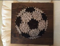Soccer String Art Sign Sports Art Soccer Ball by KiwiStrings