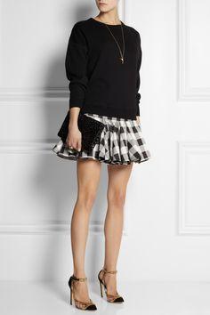Balmain|Ruffled gingham silk-blend satin mini skirt|NET-A-PORTER.COM