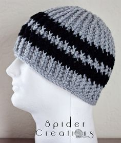Gray and Black Textured Cable Beanie Hat. $18.00, via Etsy.