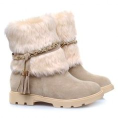 Gorgeous Women's Snow Boots With Faux Fur and Fringe Design (APRICOT,38) | Sammydress.com Mobile