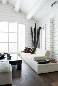 I chose this living room because I like the wooden floor with the wooden table and sticks on the back. The entire room is white with brown accents making it looks very rich and modern a bit. There is a lot of horizontal lines making the room feel calm and natural. It has harmony.