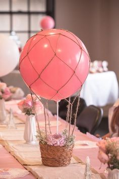 69 ideas baby shower party decorations girl center pieces for 2019 Baby Shower Balloons, Baby Shower Parties, Baby Shower Themes, Shower Ideas, Shower Party, Baby Balloon, Bridal Shower, Shower Games, Hot Air Balloon Centerpieces