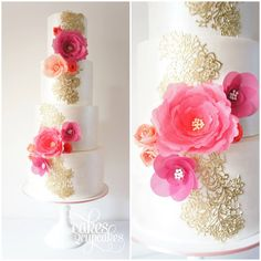 Decorative gold detailing with wafer paper flowers Cakes 2 Cupcakes