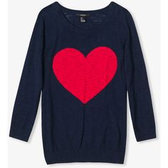 FOREVER 21 Heathered Heart Pullover ($18) ❤ liked on Polyvore