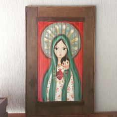 Catholic Art, Religious Art, Jesus And Mary Pictures, Arte Pallet, Virgin Mary Art, Angel Artwork, Mama Mary, Acrylic Artwork, Biblical Art