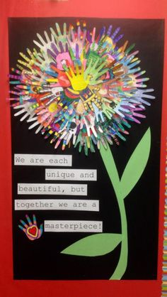 Bring your class together in the New Year with this hand print flower classroom display #teaching #lessonideas