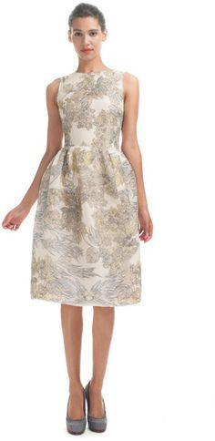 Honor  Foliage Print Cocktail Dress in Beige (green multi)