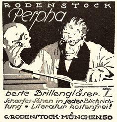 1922 Rodenstock Perpha gem. Ludwig Hohlwein 11x11 cm original Printwerbung
