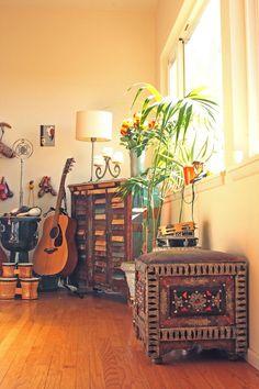 Living room: Reclaimed woods Cabinet + Moroccan Seating Cube -Tara Design, Los Angeles,CA.