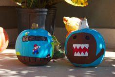 Mario and Domo painted pumpkins.