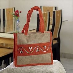 Hand Embroidered Orange Brown Recycled Jute Bag