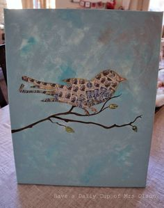 Though this was done with old stamps could also be done with old newsprint or coloured paper.  Doesn't have to be a bird; could be anything and that would help with choosing the inside of the figure.