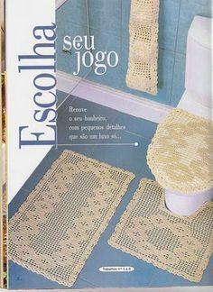 Filet Crochet pattern bathroom set. Good charts.