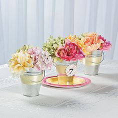 Create a sense of grace and beauty for your event with your own two hands. Delightfully simple, yet filled with springtime elegance, these Tin Pail Flower . Table Arrangements, Table Centerpieces, Wedding Centerpieces, Flower Arrangements, Table Decorations, Wedding Tables, Centerpiece Ideas, Wedding Reception, Wedding Decorations