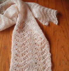 Silk & Mohair Handknitted Lace Scarf in Soft Peach by WildCat Designs.