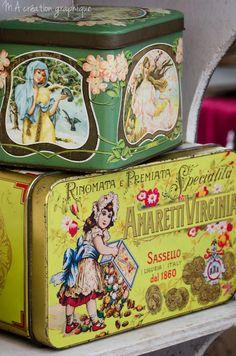 Vintage tins. . . .©MA création graphique.