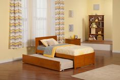 Orlando Twin Bed w Flat Panel FB & Urban Trundle Bed in Caramel Latte