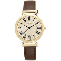 Ladies Anne Klein Dome Dial Watch-AK-2136CRBN , Brown/Gold