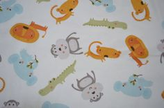 Jungle Friends BTY Cotton Fabric Animal Fabric by SuesAkornShop