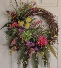 Spring Grapevine Wreath, Mothers Day Gift, Summer Grapevine Wreath   PataylaFloralDesigns - Housewares on ArtFire