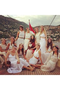 Lauren Santo Domingo (Tatiana's aunt by marriage) posted this photo of Tatiana Santo Domingo, fiancée of Andrea Casiraghi, with her friends and front left, her future sister-in-law, Charlotte Casiraghi. The couple will marry in Monaco on August Andrea Casiraghi, Charlotte Casiraghi, Bachelorette Outfits, Diy Bachelorette Party, Look Hippie Chic, Boho Chic, Hippie Boho, Pre Wedding Party, Boho Wedding