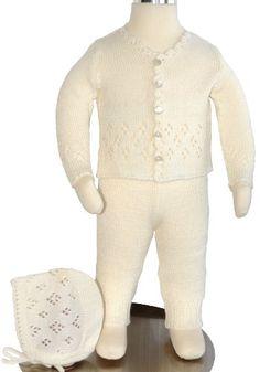 Knit Baby Christening Baptism Cardigan Set of 3, Size: 0-3 M, 3-6 M, Color: Ivory $49.99