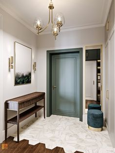 Фото дизайн интерьера холла из проекта «Квартира с стиле неоклассика, ЖК «Остров», 95 кв.м.»