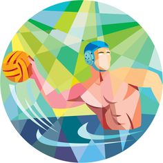 Low polygon style illustration of a water polo player throwing ball viewed from the side set inside circle. Waterpolo, Water Polo Players, All About Water, Polo Design, Sports Website, Swimming Sport, Polo Logo, Thing 1, Sports Images