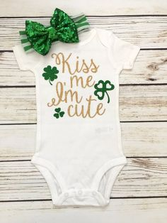 Kiss Me, I'm Cute St. Patrick's Day Bodysuit | Cute Baby Onesie for St Patricks Day
